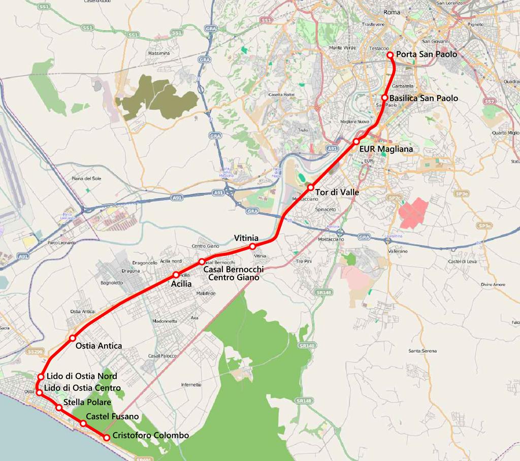 Mappa ferrovia Roma Lido